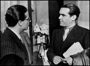 SPAIN. Madrid. May 1936. From the left Spanish poets Emilio PRADO and Federico GARCIA LORCA.