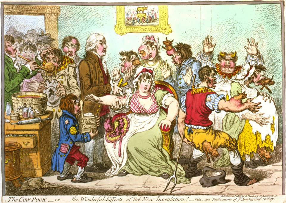 James Gillray, The Cow-Pock—or—the Wonderful Effects of the New Inoculation! (1802)